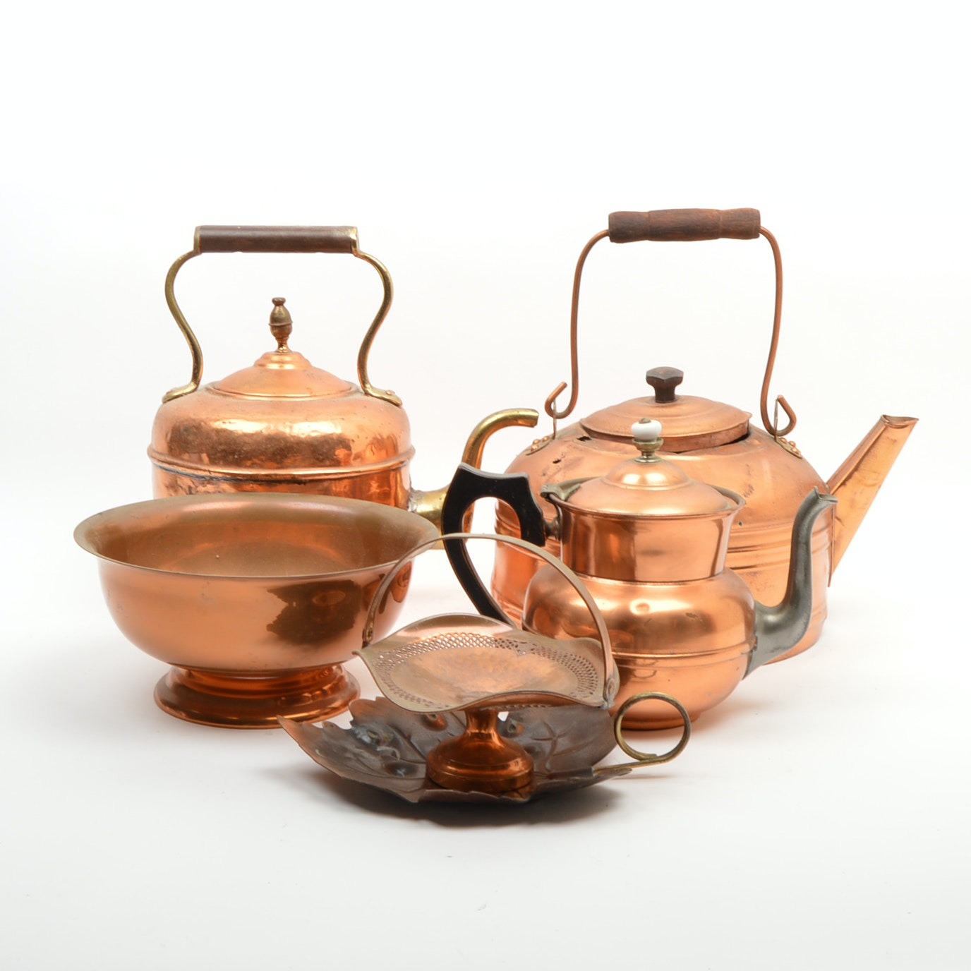 Copper and Copper Toned Kettles and Bowl