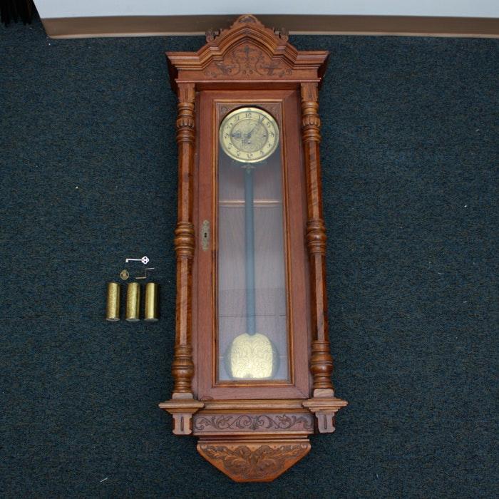 Antique Teréz Körút Carved Wood Wall Clock