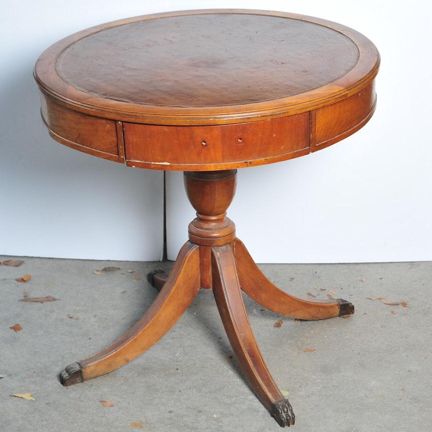 Incredible Vintage Leather Top Drum Table Project Inzonedesignstudio Interior Chair Design Inzonedesignstudiocom