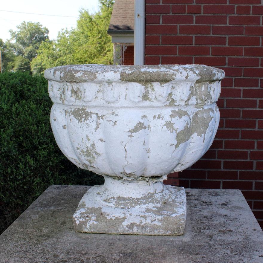 Vintage Romanesque Cement Urn Planter
