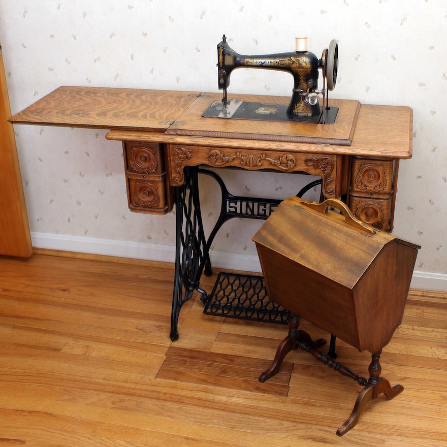 40 Singer Treadle Sewing Machine Sphinx Design EBTH Fascinating Lotus Singer Sewing Machine