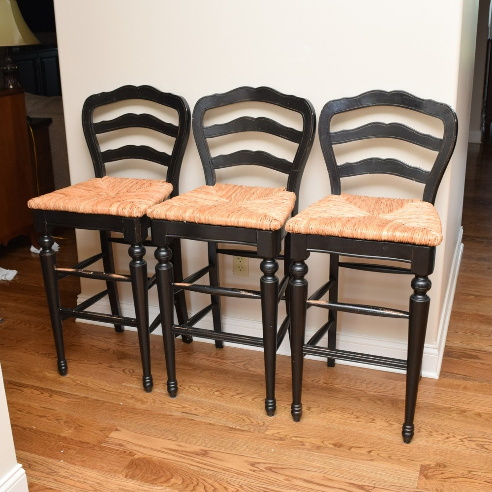 three ballard design antiqued black painted wood and rush seat bar three ballard design antiqued black painted wood and rush seat bar chairs