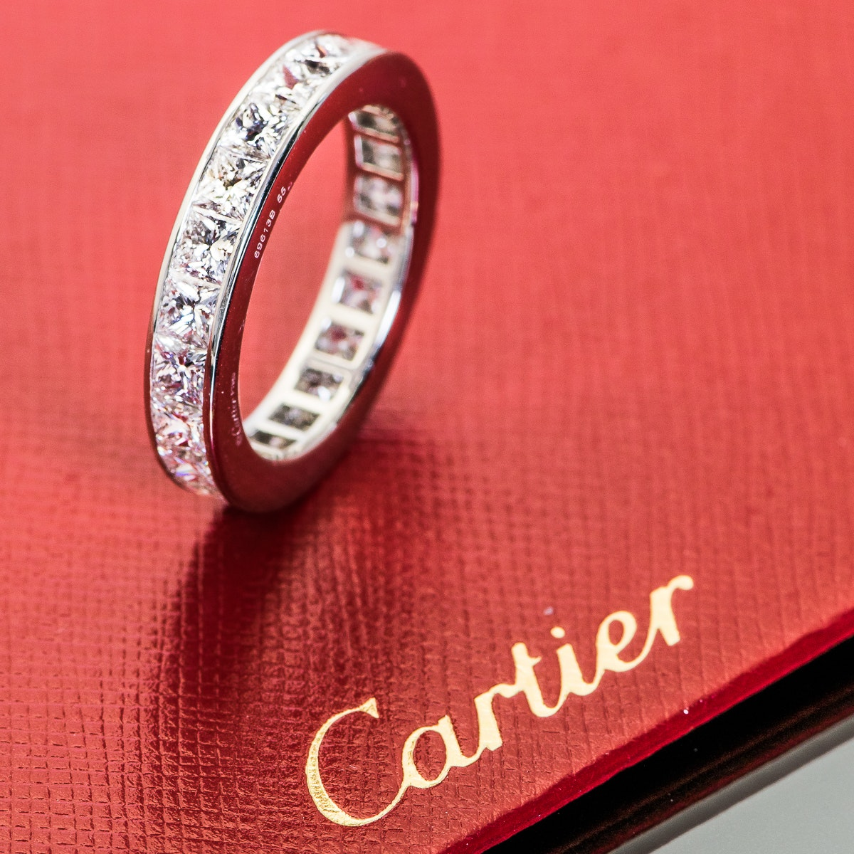 Cartier Platinum and 5.20 CTW Princess Cut Diamond Eternity Band