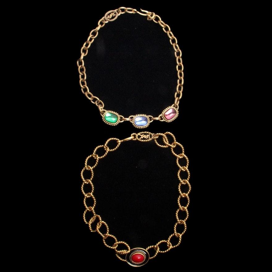 665703d7b19 Pair of Vintage Yves Saint Laurent Costume Necklaces : EBTH