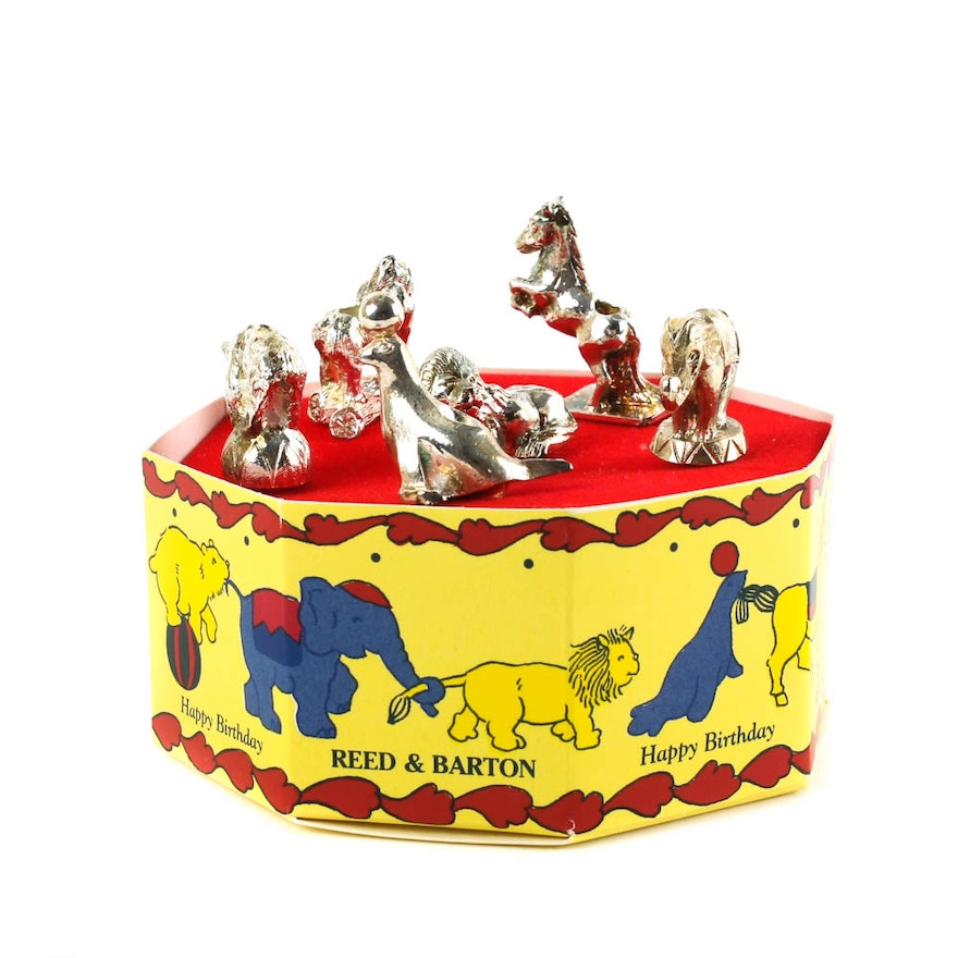 Reed Barton Silver Plate Circus Themed Birthday Candle Holder Set EBTH