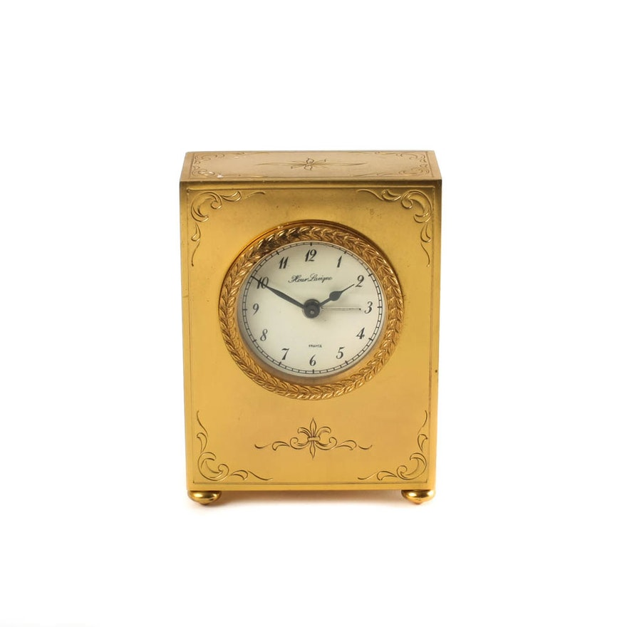 Small French Hour Lavigne Vintage Desk Clock Ebth