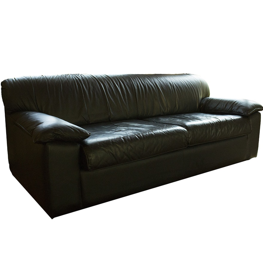 Klaussner Furniture Black Leather Couch With Wooden Legs