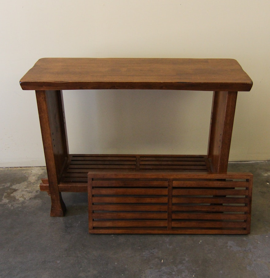 Arts and crafts style walnut end table ebth for Arts and crafts style table