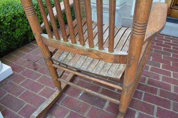 Pair Of Cracker Barrel Rocking Chairs Ebth