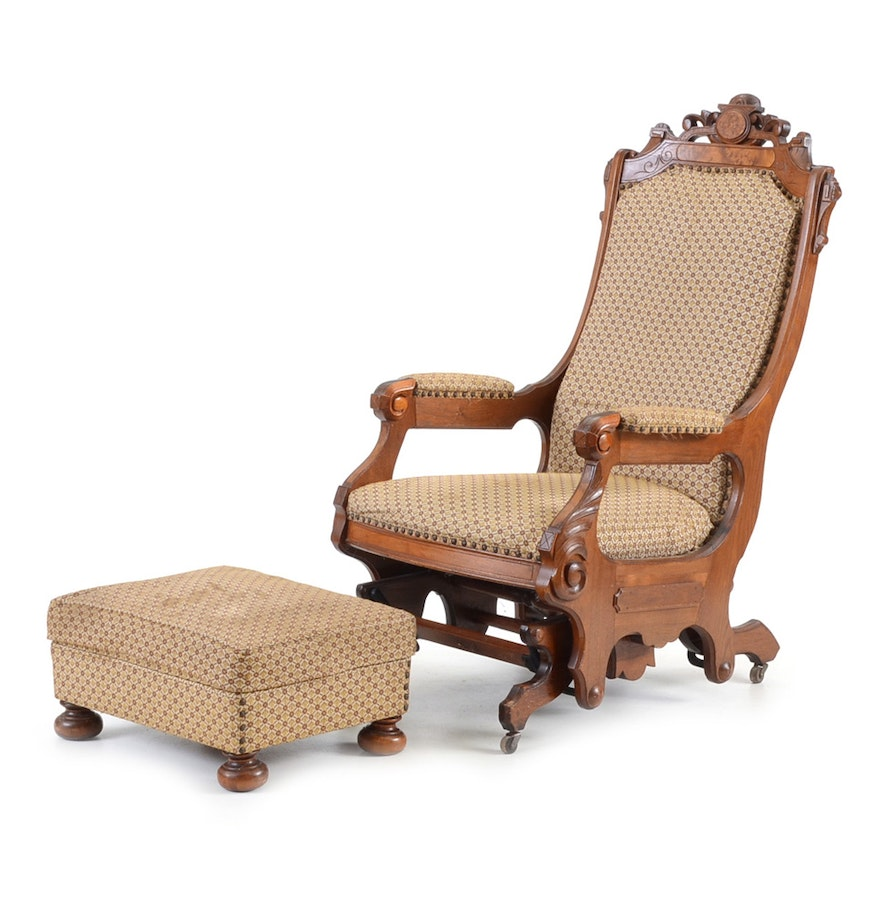 Victorian rocking chair - Victorian Renaissance Platform Rocking Chair And Ottoman