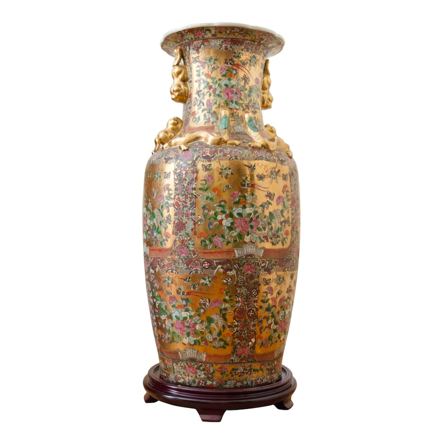 Chinese Porcelain Floor Vase With Wood Stand Ebth