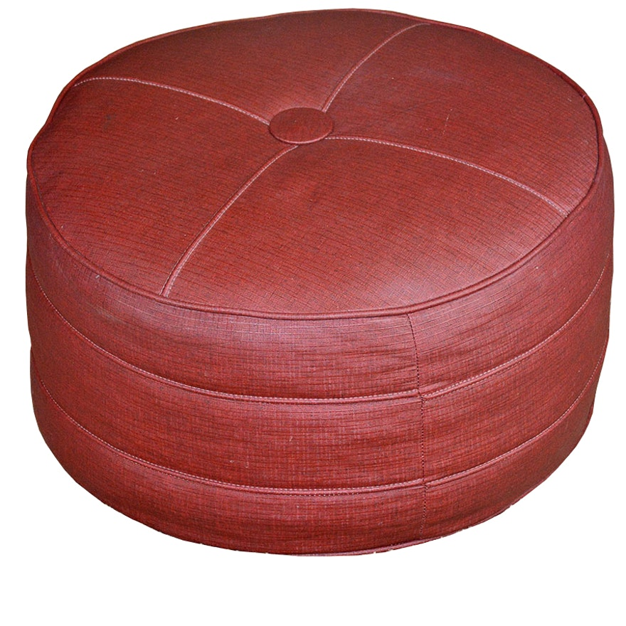 Awesome Vintage Round Vinyl Ottoman Caraccident5 Cool Chair Designs And Ideas Caraccident5Info