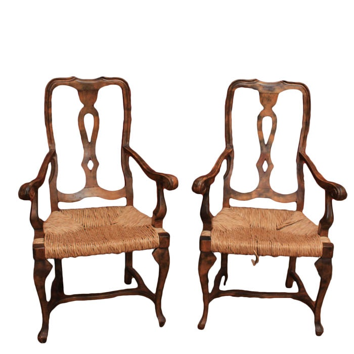 Pair of Vintage Rush Seat Armchairs