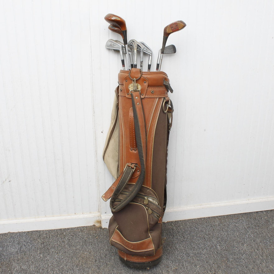 Vintage Golf Clubs And Bag Featuring Ben Hogan