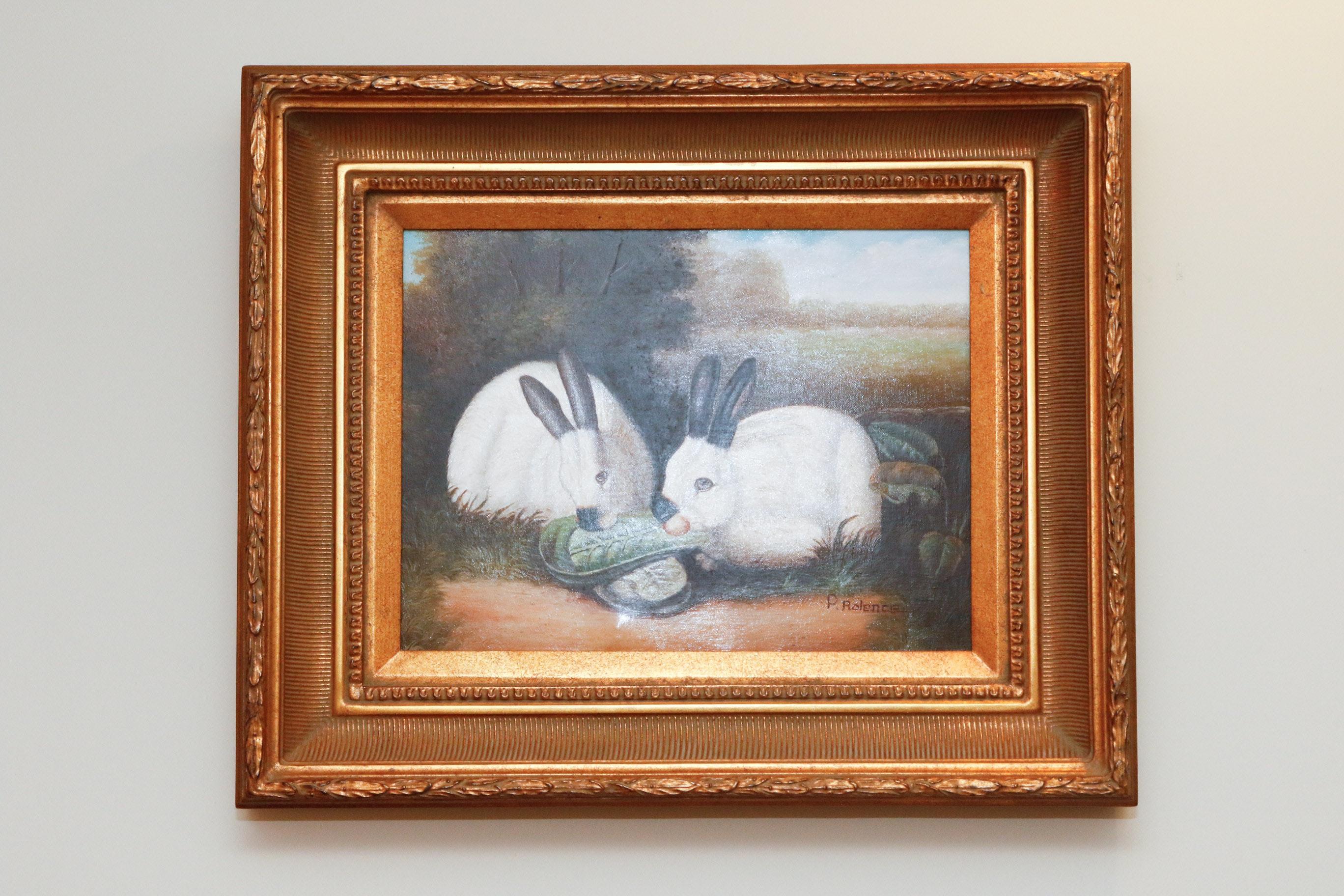 P Rolence Rabbits P. Rolence Folk Art Pr...