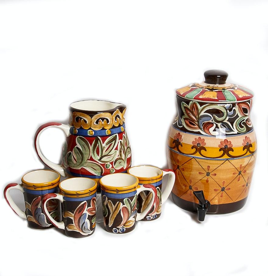 sil vous plait by vicki carroll studio drink dispenser pitcher mugs ebth. Black Bedroom Furniture Sets. Home Design Ideas