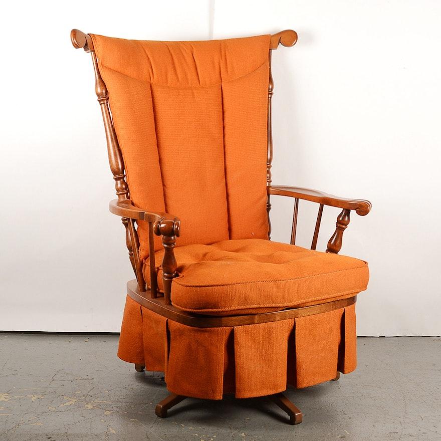 Super Mid Century Orange Cushioned Maple Swivel Rocker Machost Co Dining Chair Design Ideas Machostcouk