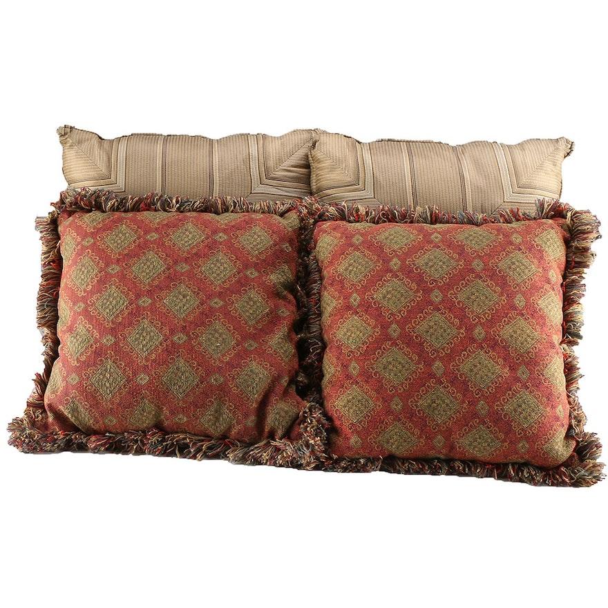 Four Earth Tone Throw Pillows EBTH Mesmerizing Earth Tone Decorative Pillows