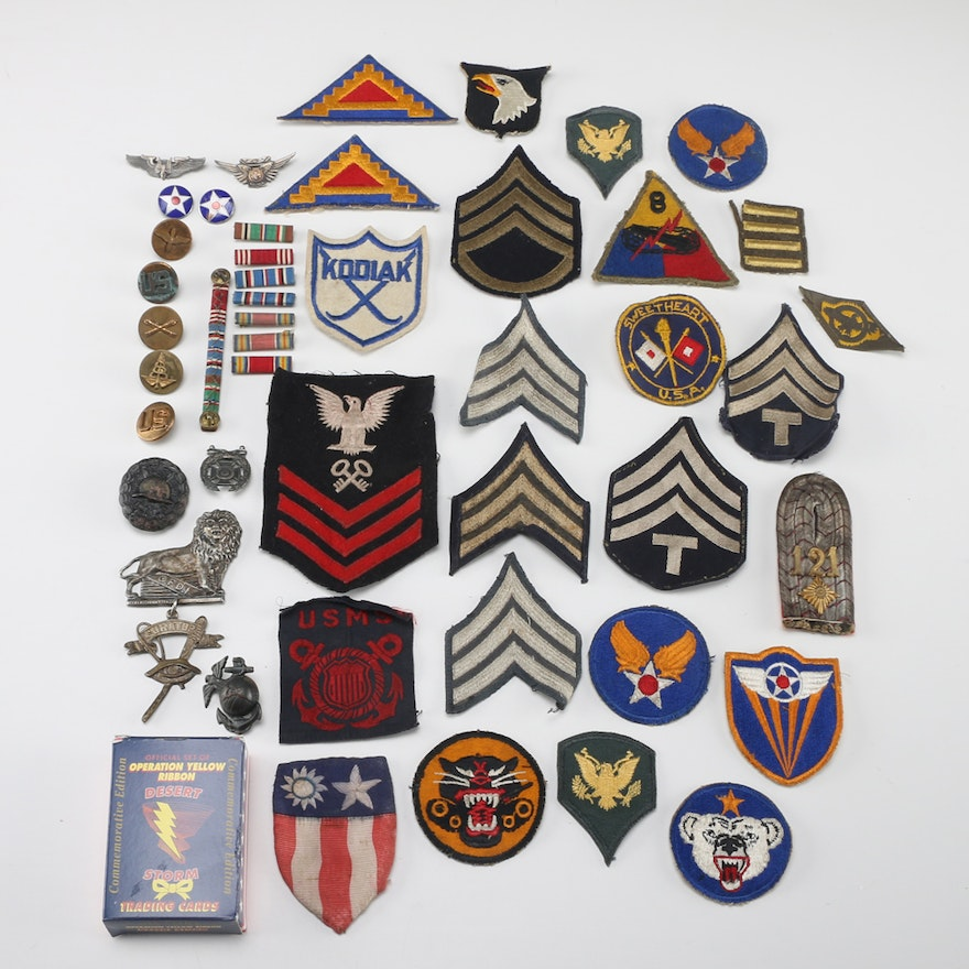 Gathering of Military Rank Patches and Pins