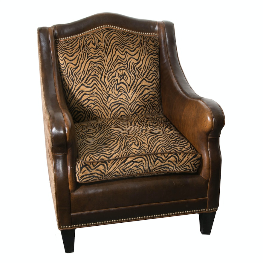 Broyhill Leather And Animal Print Club Chair