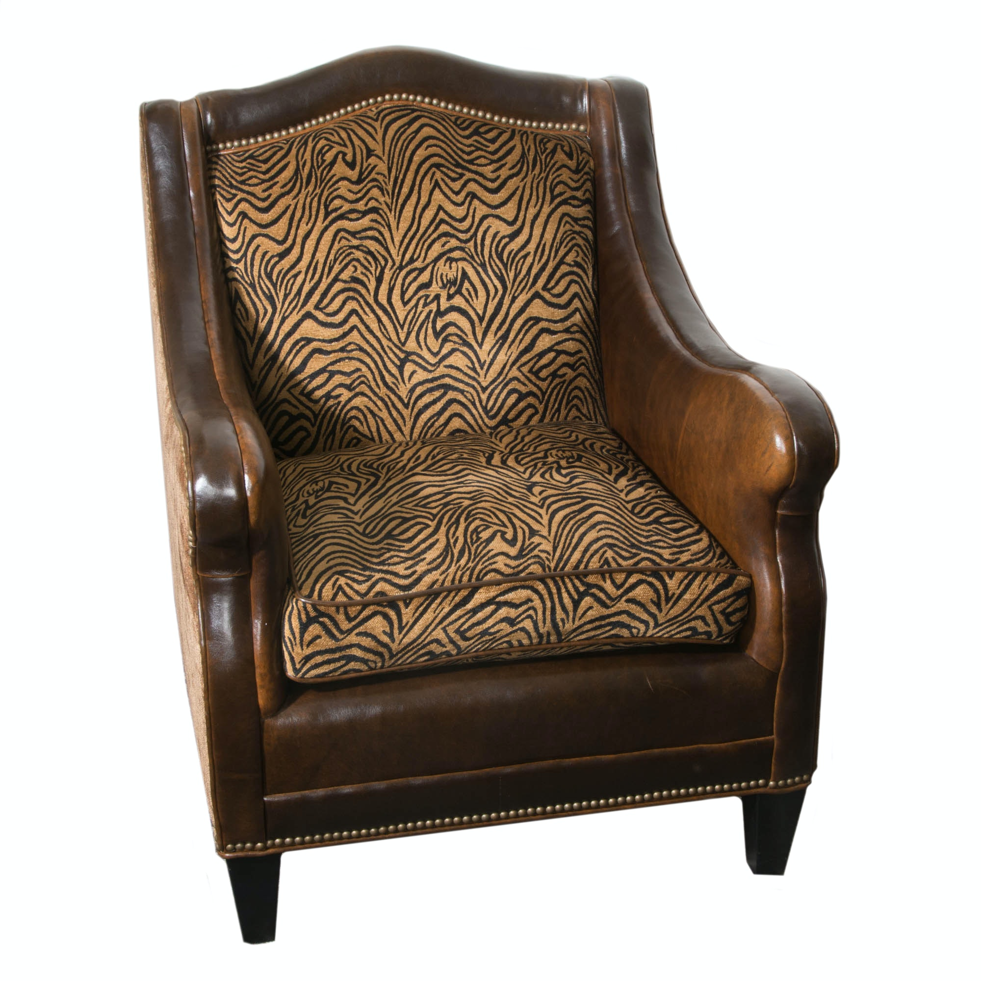 Broyhill Leather And Animal Print Club Chair ...
