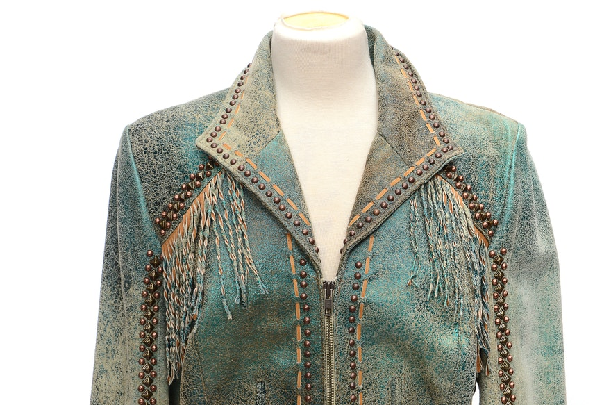 Double D Ranch Of Yoakum Texas Leather Jacket With Twist