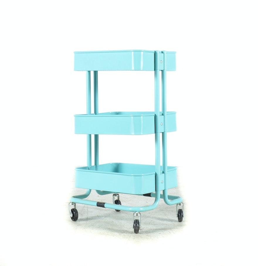 Turquoise Ikea 39 Raskog 39 Kitchen Utility Cart Ebth