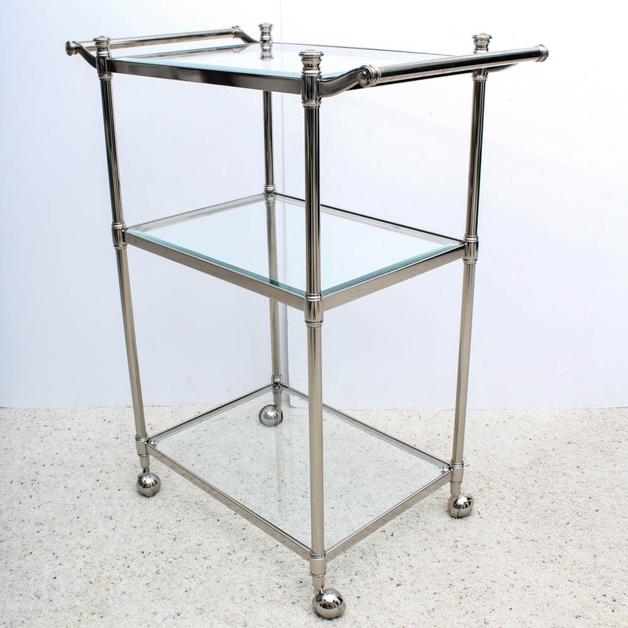 Frontgate Belmont 3 Tier Rolling Chrome Bath Cart