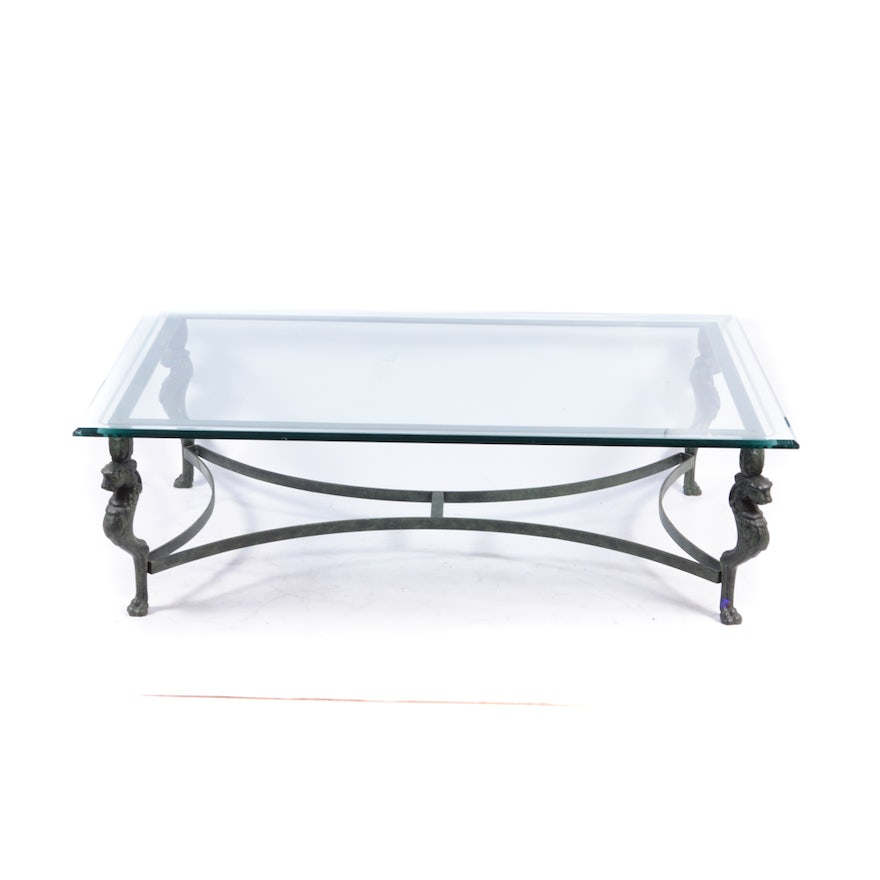 Heavy Metal Coffee Table With Beveled Glass Top Ebth