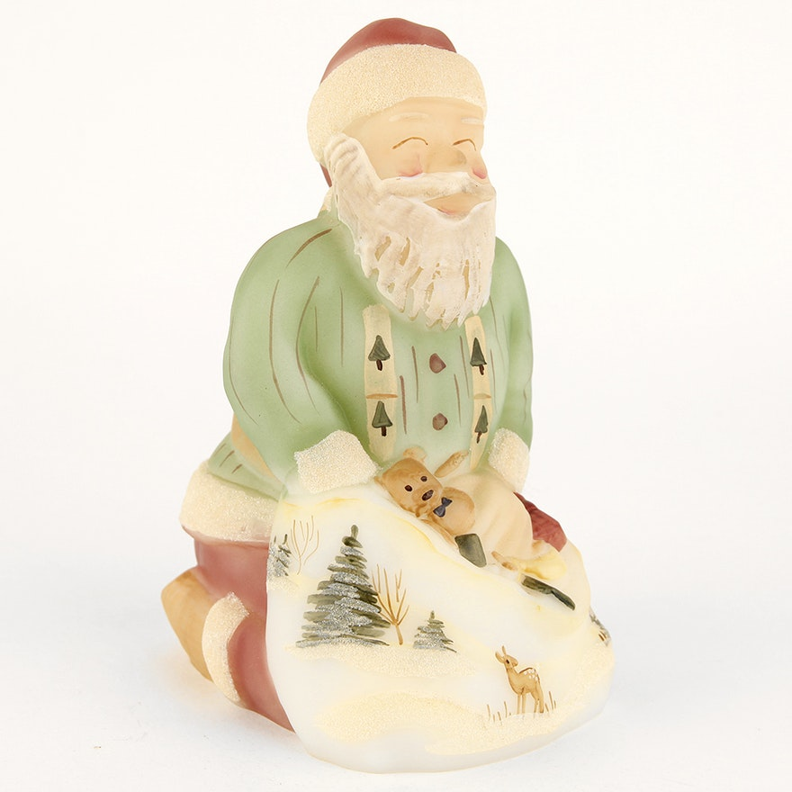 Hand Painted Fenton Glass Kneeling Santa Claus : EBTH