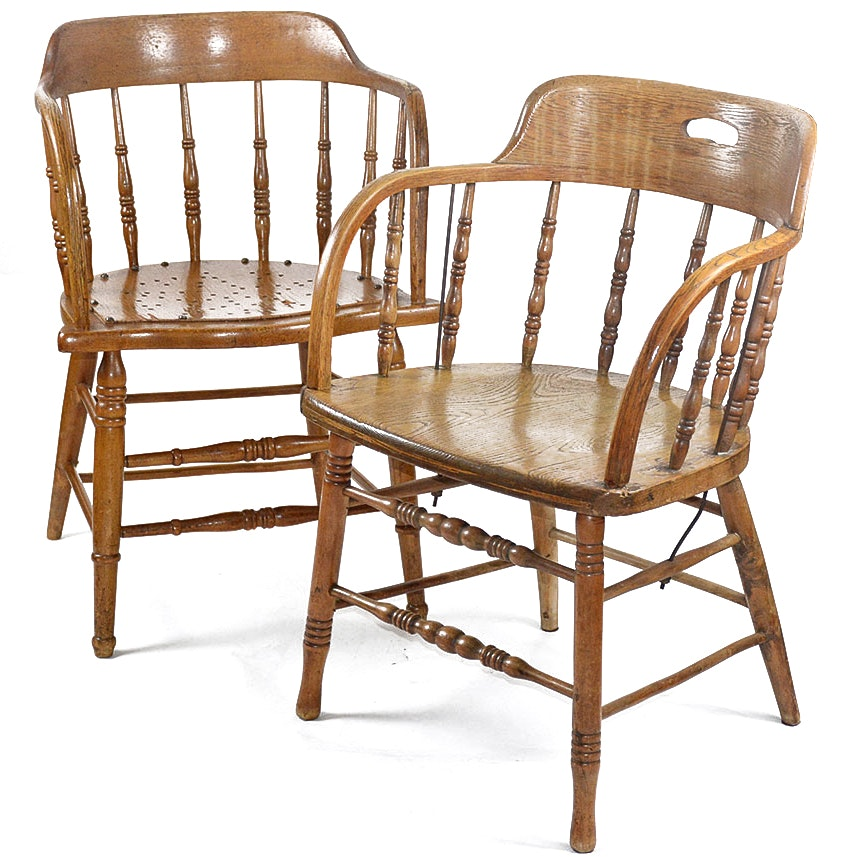 Pair Of Vintage Oak Barrel Back Windsor Chairs ...