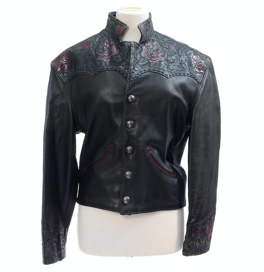 Leather jacket with roses - Bounty Hunter Limited Of Colorado Black Leather Jacket With Embossed Roses