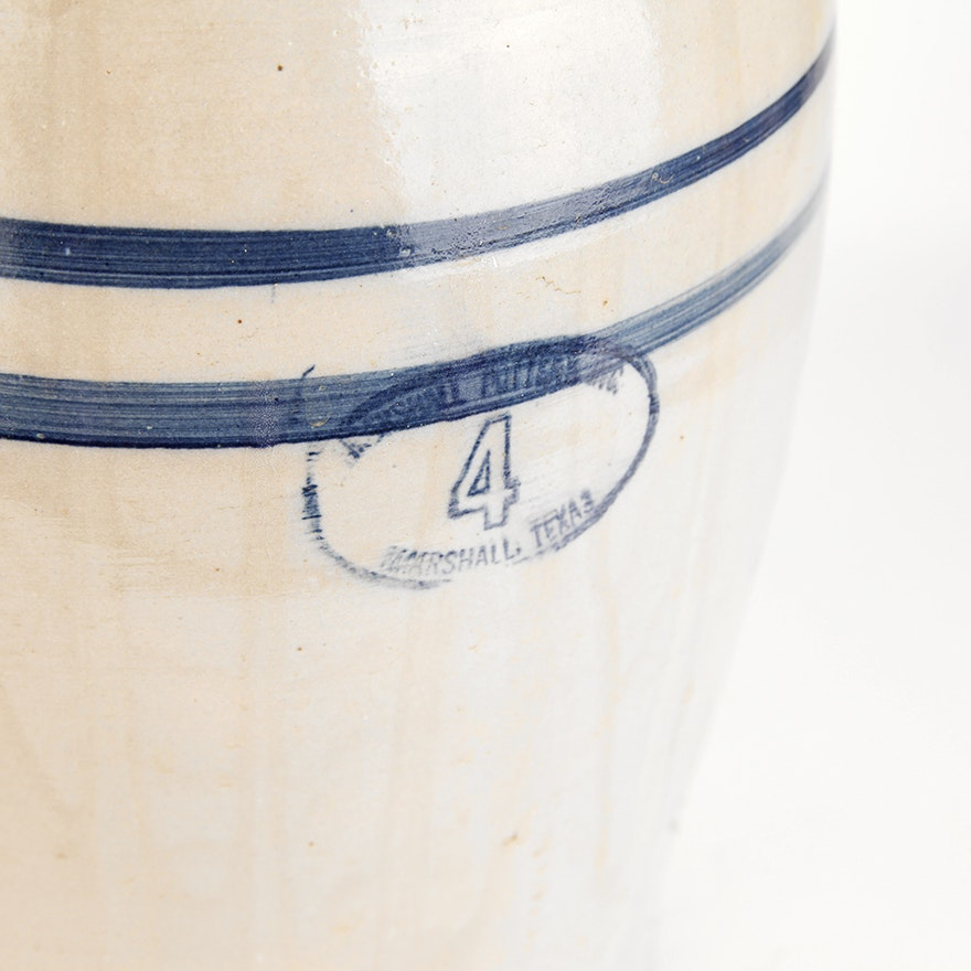 Marshall Pottery No. 4 Stoneware Crock Butter Churn