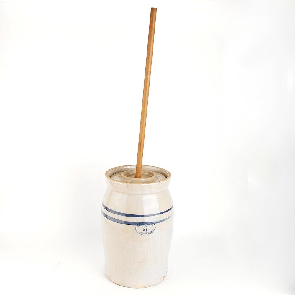 Marshall Pottery No. 4 Stoneware Crock Butter Churn : EBTH