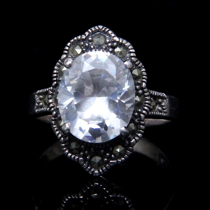 sterling silver marcasite and cubic zirconia costume ring