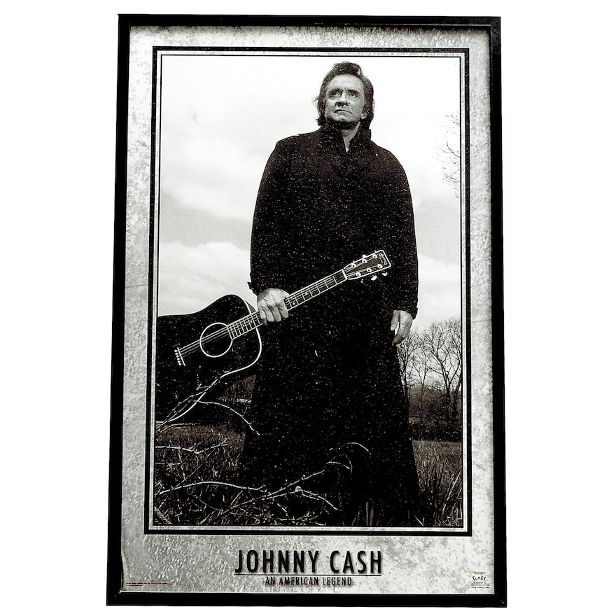 Framed Black and White Poster of Johnny Cash \