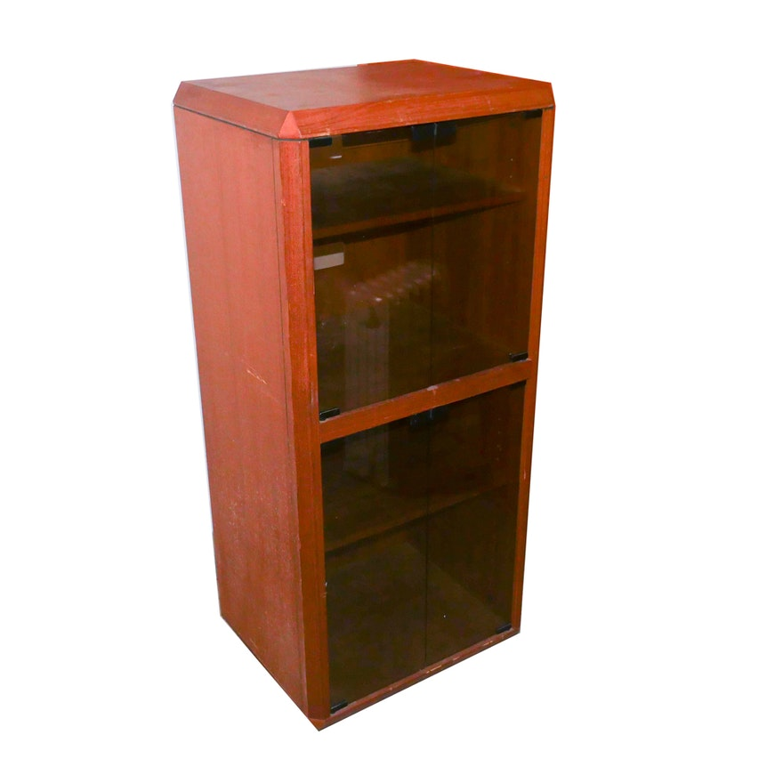 Wooden Console Cabinet With Glass Doors Ebth