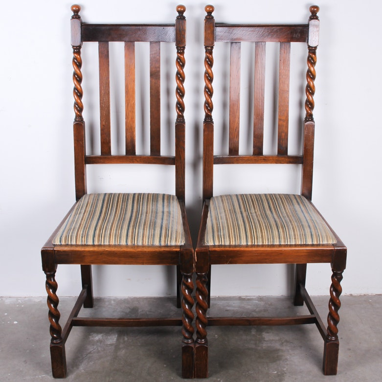 Pair Of Barley Twist Oak Dining Chairs ...