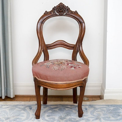 Victorian Needlepoint Side Chair - Vintage Chairs, Antique Chairs And Retro Chairs Auction In Fine