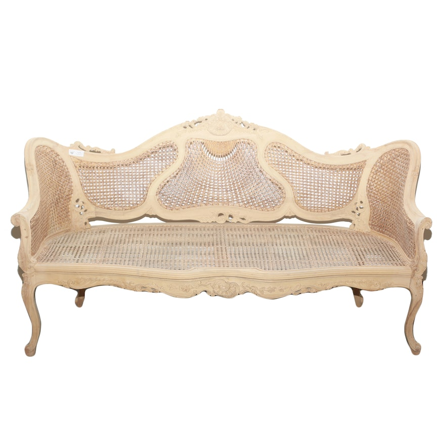 Unfinished French Provincial Cane Back Sofa