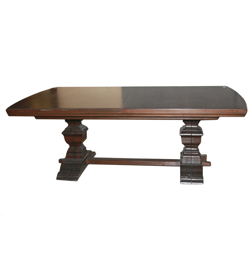 Extra Large Wooden Dining Room Table With Two Leaves : EBTH
