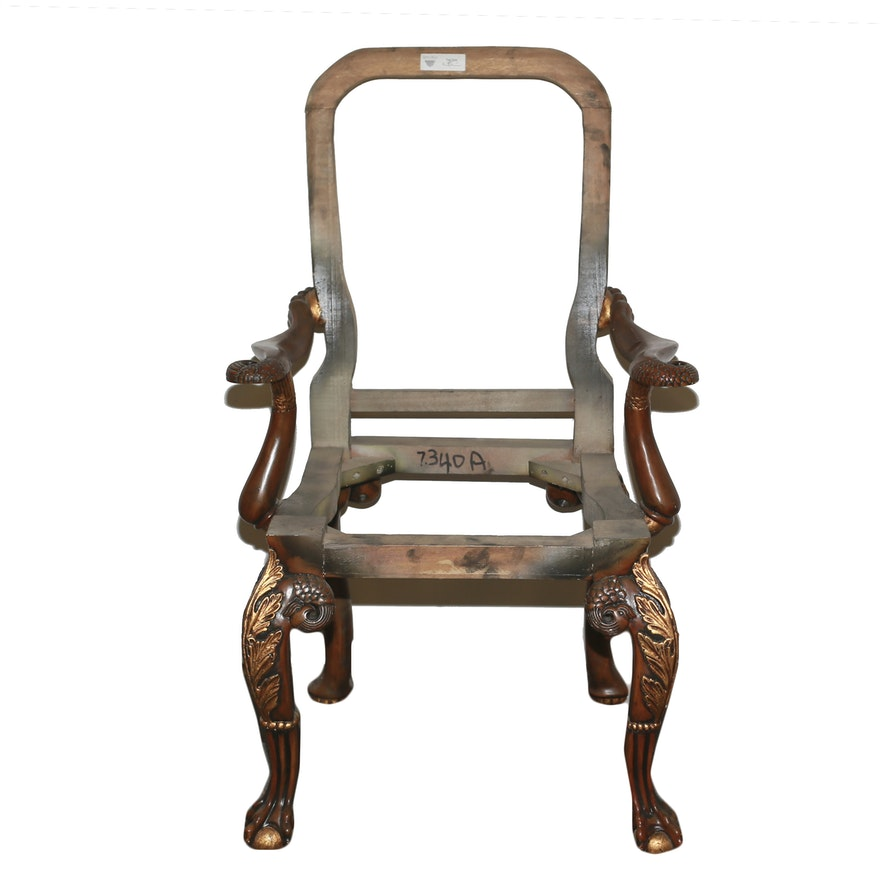 Unfinished Arm Chair Frame with Carved Details : EBTH