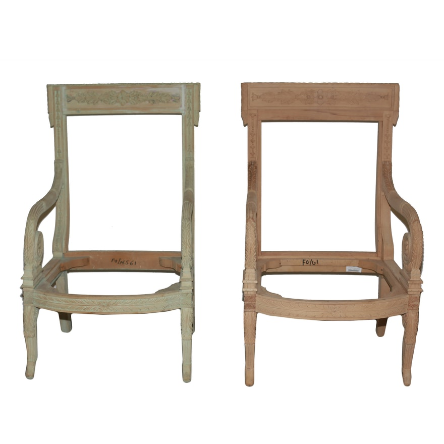 Pair of Matching Unfinished Accent Chair Frames : EBTH