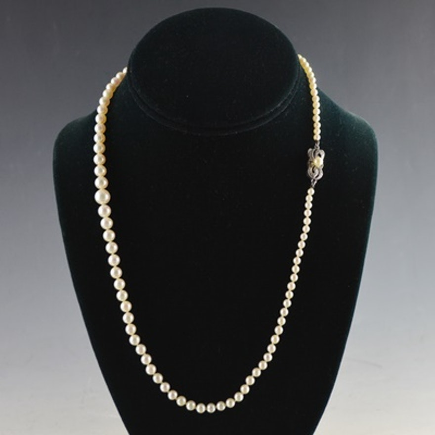 """Mikimoto Pearls Necklace: Vintage Mikimoto 20"""" Cultured Pearl Necklace With Ornate"""