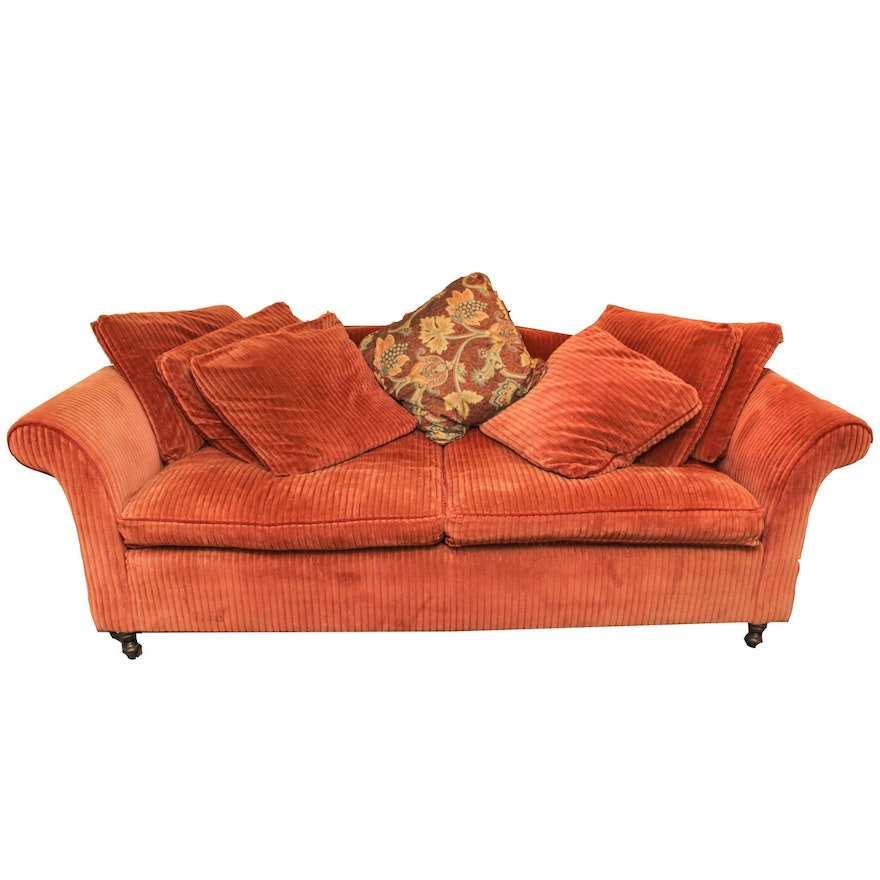 Burnt Orange Corduroy Sofa by Expressions Custom Furniture