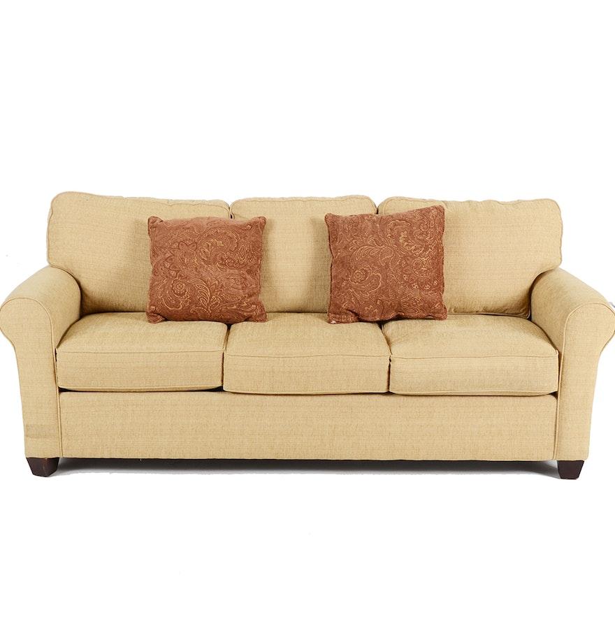 Bassett Furniture Tan Chenille Sofa Ebth