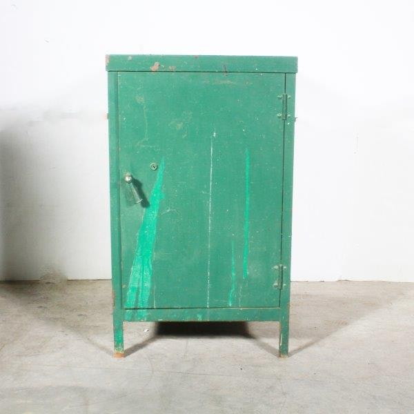 Vintage Industrial Cabinet in Green Paint