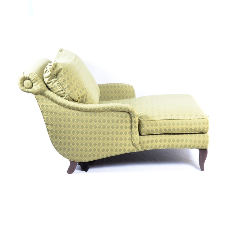 Outdoor wrought iron chaise lounge in green ebth for Accent chaise lounge