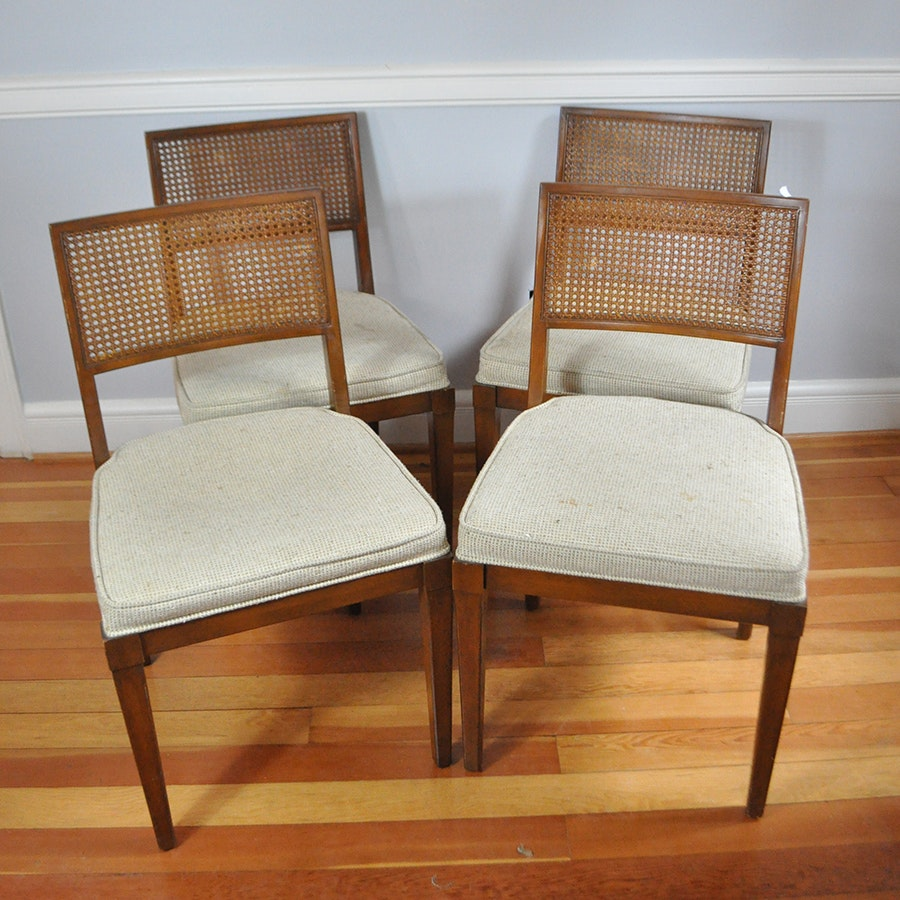Mid Century Modern Cane Woven Back Chairs Ebth