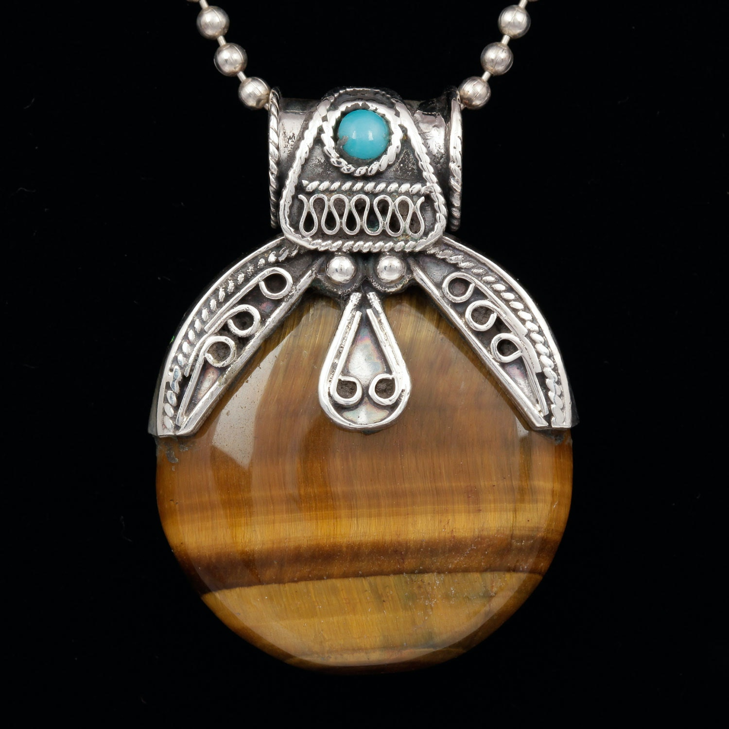 sterling silver tiger s eye and turquoise pendant necklace